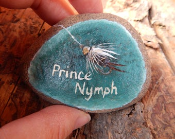 Fly Fishing Gift, Fly Fishing Painting, Fishing Fly, Fly Fishing Hand Painted Rock Art