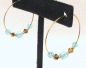 Gold Hoop Earrings, Beaded Gold Hoop Earrings, Beaded Hoops, Beaded Gold Hoops, Crystal Beaded Hoops, Handmade Earrings, Gift for Her