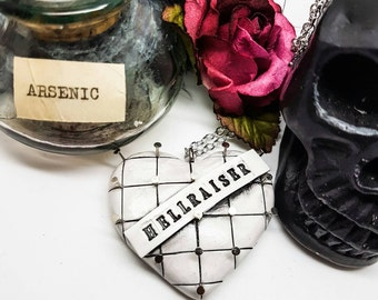 Hellraiser necklace, Pinhead necklace, Horror Heart Necklace, Clive Barker, Hellbound heart, horror Movie Jewellery, Doug Bradley
