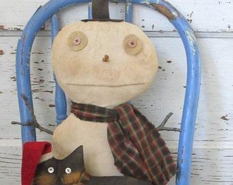 Primitive Grungy Folk Art ~Twigs N Snowcat Winter Christmas Doll Set~Hafair Team