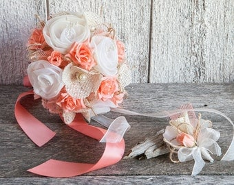 Coral and ivory rustic wedding bouquet, Shabby chic wedding bouquet, Coral and ivory bridal bouquet, Wedding bouquet with groom boutonniere