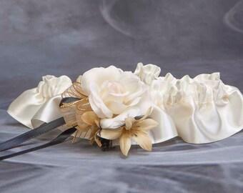 Ivory and gold wedding garter, Bridal garter, Satin and Ivory lingerie, Prom garter, Toss, Keepsake garter, Gatsby garter, Charleston garter