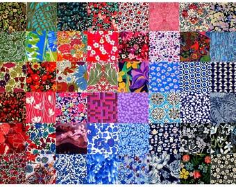 "Liberty of London 48 Mini Charm Squares 2.5"" Bundle Patchwork Quilting Dark Deep Bold Colour + black Cotton Tana Lawn Fabric"