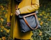CHAMELEON G-Grey bag / handbag and backpack in one bag / crossbody bag / backpack / tote bag / natural leather handles and removable strap