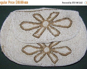 ON SALE Small Vintage White Glass Beaded Dance Purse with Strap