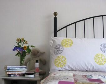 Pillow cases, Set of Two, hand printed, mandala design