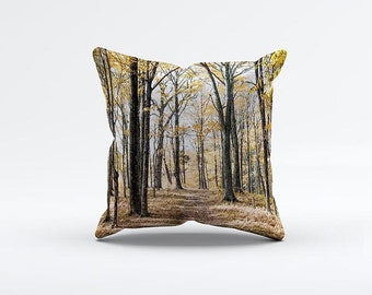 Yellow Forest Pillow Cover 15 x 15 inch, Trees cushion cover, Decorative Pillow Cover, Fall Home decor