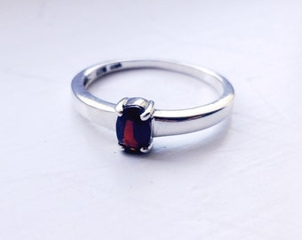 Garnet & Sterling Silver Ring SIZE 8, Red January Birthstone, Anniversary, Engagement