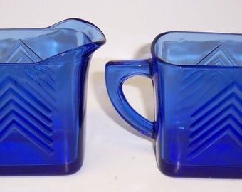 Hazel Atlas Cobalt Blue CHEVRON CREAMER and SUGAR Bowl Set