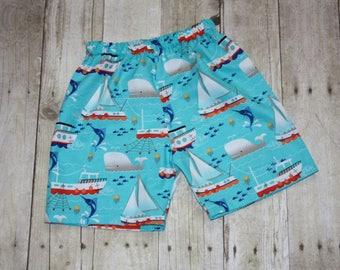 Boys Summer aqua sailboat shorts sz nb, 3m, 6m, 12m, 18m, 24m/2t, 3, 4, 5, 6, 7, 8, 10 beach photos, cruise, summer, pull on