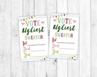 Ugly Sweater Voting Ballots, DIY Christmas Party, Childrens Christmas, Holiday Party Kit, Christmas Party Package, Christmas Printable
