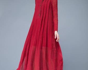 red linen dress, red linen tunic, loose fit dress, oversized dress, pleated dress, long sleeves dress, long sleeve, irregular dress    C1050