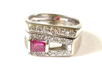 Vintage 14K Yellow Gold Natural Ruby and Diamond Ring - Heavy Wedding Set - Baguette Ruby and Round Diamonds - Red Pink - Size 7.5 # 4325