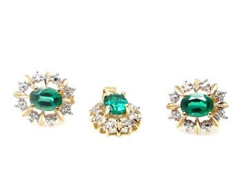 14K Yellow Gold Diamond and Synthetic Emerald Flower Pendant and Pierced Earrings Set - Emerald Diamond Cluster Set - May Birthstone # 4058