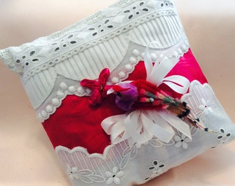 Lavender Sachet Pillow made with Antique Lace and Ribbin. Topped with a Vintage Chennile Bird