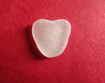 White Sea glass heart  beach glass  heart