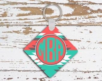 Monogrammed keychain, Aztec pattern in turquoise and coral, Car decor for her, Inexpensive gifts under 10 (1259)