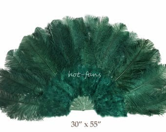 """forest green Ostrich Marabou Feather fan with pmma staves 30"""" x 55"""" opened 180 degree"""