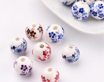 Porcelain Beads Flower Beads Wholesale Beads Floral Beads Porcelain Flower Beads 12mm Beads 12mm Porcelain Beads 10 pieces