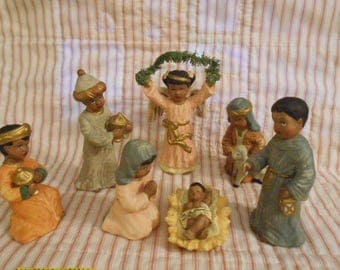Nativity Set Figures - Bisque-Kurt Adler-African American