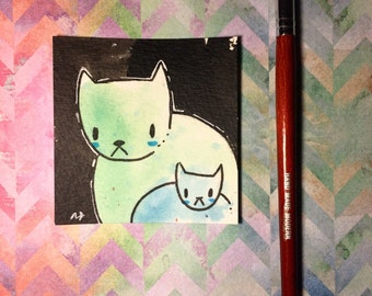 "Watercolor and ink Painting ""Two Cats 3"" 3x3 inches drawing / decoration."