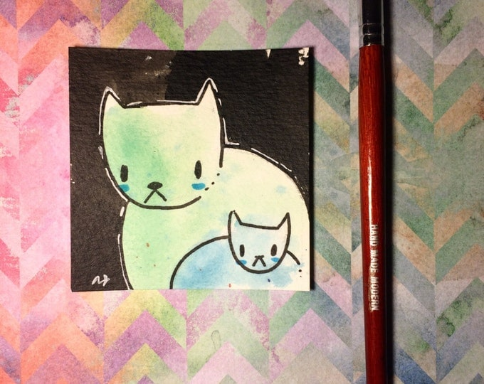 """Watercolor and ink Painting """"Two Cats 3"""" 3x3 inches drawing / decoration."""
