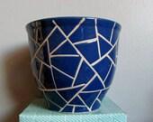 Blue Mod Pot, Planter, Vase, Dark Blue, White Cracked Design, Outdoor Decor, Kitchen Shelf Sitter ~ BreezyJunction.etsy.com