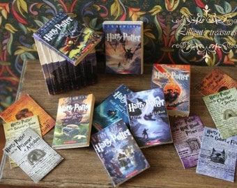 Dollhouse miniature Harry Potter's set of 7 books
