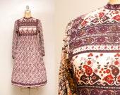 Vintage 70s Indian Cotton Printed Dress | 1970s Boho Long Sleeve Dress | Ethnic Print