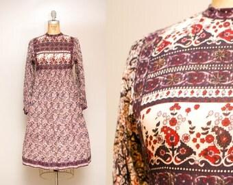 Vintage 70s Indian Cotton Printed Dress   1970s Boho Long Sleeve Dress   Ethnic Print