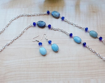 Blue Gemstone Chain Necklace,  Women's Necklace, Long Blue Statement Necklace