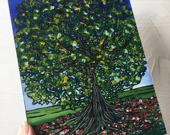 Tall Green Tree original painting