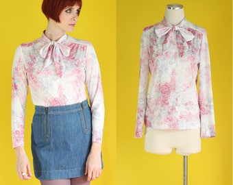 Vintage 70s Secretary Blouse - Pastel Pink Blouse - Floral Blouse - Bow Blouse - Tie Neck Blouse - Spring Long Sleeve Blouse - Size Small
