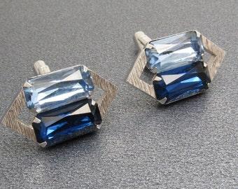 Vintage Blue Rhinestone Cufflinks Mens Vintage Jewelry H865