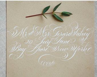 SALE- Flourished Copperplate Calligraphy - Wedding Script Envelope Addressing