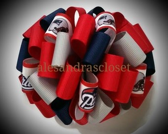 New England Patriots 4 Inch Large Fancy Loops Hair Bow Girls Toddler Teen Bows Football NFL Sports Hair Bows