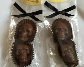 12 Milk Chocolate SKULL Favors with Toffee Halloween Candy Party Skulls