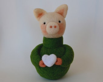 NEEDLE FELTED PIG Wearing a GreenSweater / Made in Maine by Caryn Burwood of Purple Moose Felting