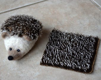 "HEDGEHOG FABRIC / 12"" x 12"" / Needle Felted Hedgehog Material / German Steiff Schulte Mohair for Needle Felting / 9 mm pile"