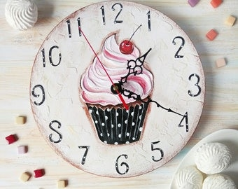 Sweet Cake Wall Clock, Modern wall clock with numbers, White wall clock, wood clock, pink home decor, for Office. Dad Gift, Fathers Day Gift