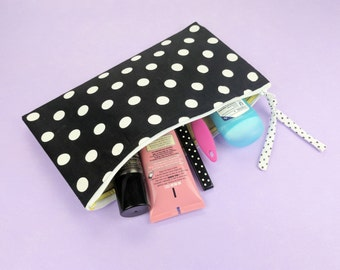 Polka Dot Zipper Pouch Black and White Toiletry Case or Travel Make up Bag