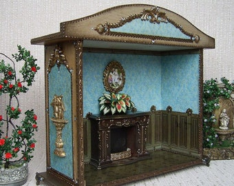 The roombox showcase for installations.Miniature Display . Dollhouse miniature. 1:12 Scale