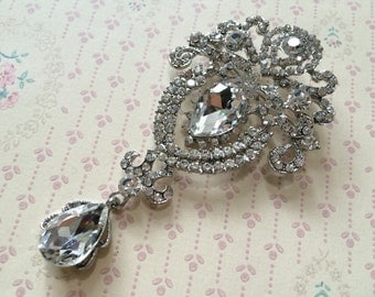Chandelier teardrop wedding bridal rhinestone crystals brooch pin, wedding brooch, bridal brooch, rhinestones brooch, crystals brooch