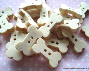 18mm Dog Bone Wood Buttons Pack of 25 Wood Buttons PL29