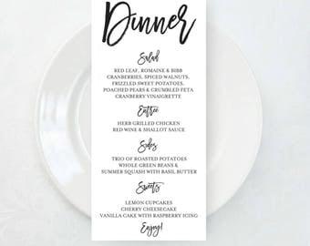 Dinner Menu - Reception Menu - Black and White Menu - Wedding Menu - Menu - Wedding Planning - Shower Menu - Event Menu - Party Menu