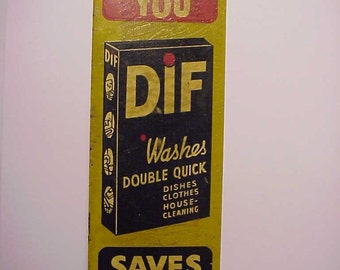 c1930-40 DIF Soap Washes Double Quick J. Nelson Prewitt Rochester, N.Y. , Rare Door Push Tin Advertising Sign