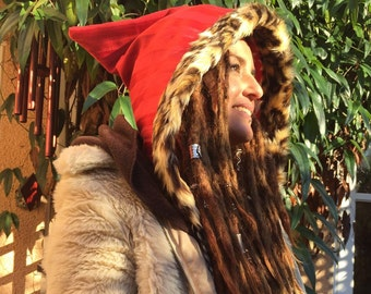 Pixie Hood Red Stripe Fabric & Faux Fur Trim with Red wurh White Star Fleece Lining.....One Off piece...Perfectly Pixie, Elven, Faery