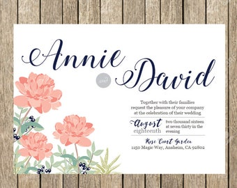 Peonies Wedding Invitation Printable Invitation