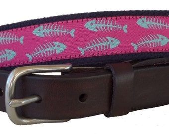 Bonefish Leather Belt / Leather Belt / Seersucker Belt / Preppy Webbing Belt Men, Women and Children/Seafoam Green Bonefish on Dark Pink