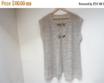 BLACK FRIDAY SALE Crochet linen vest blouse top ecru taupe gray girl woman openwork size L M large medium knit handmade flax folk art peasan